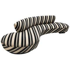 Iconic Vladimir Kagan 'Serpentine' Sofa in Striped Upholstery