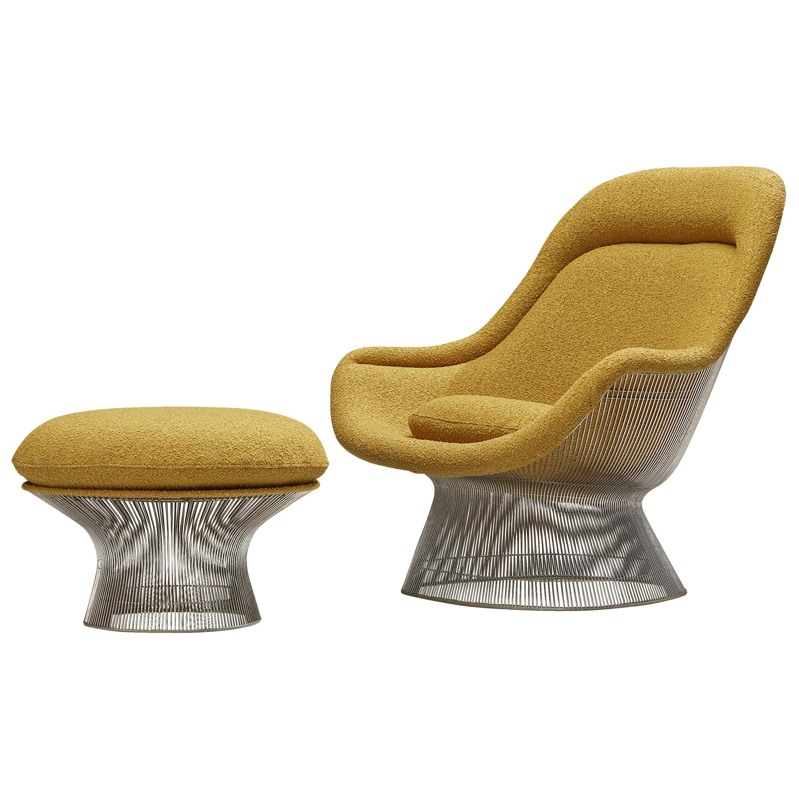 Iconic Warren Platner for Knoll Lounge Chair '1705' in Steel and Fabric