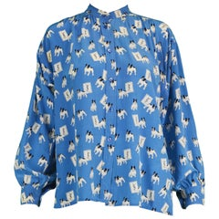 Iconic Yves Saint Laurent Vintage Moujik the French Bulldog Print Blouse, 1980s