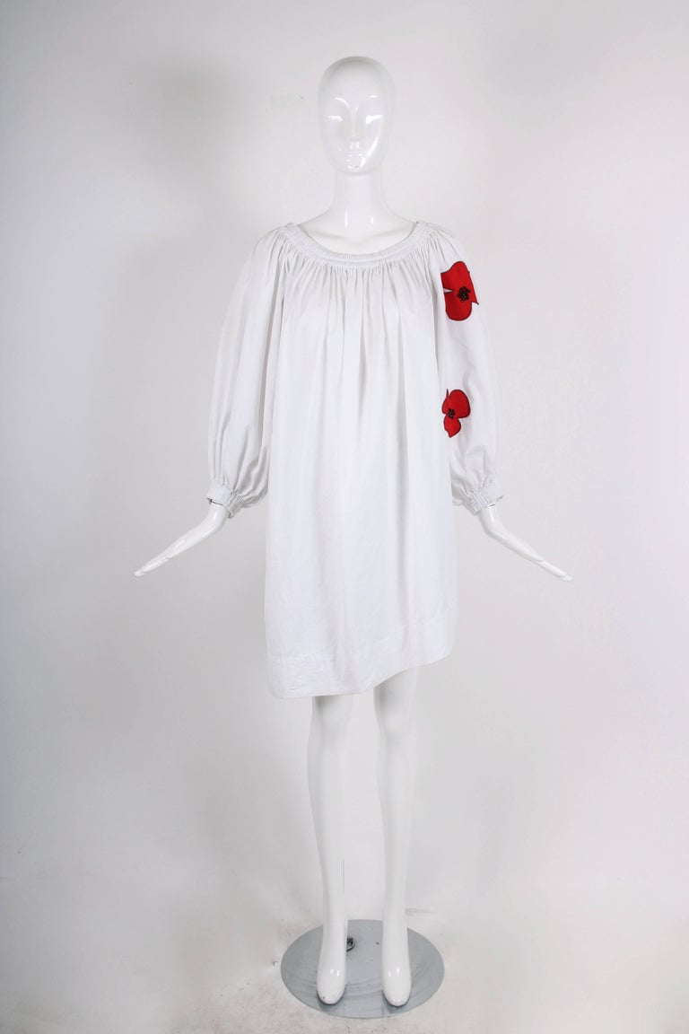 Gray Yves Saint Laurent YSL White Cotton Asymmetric Day Dress with Poppies For Sale