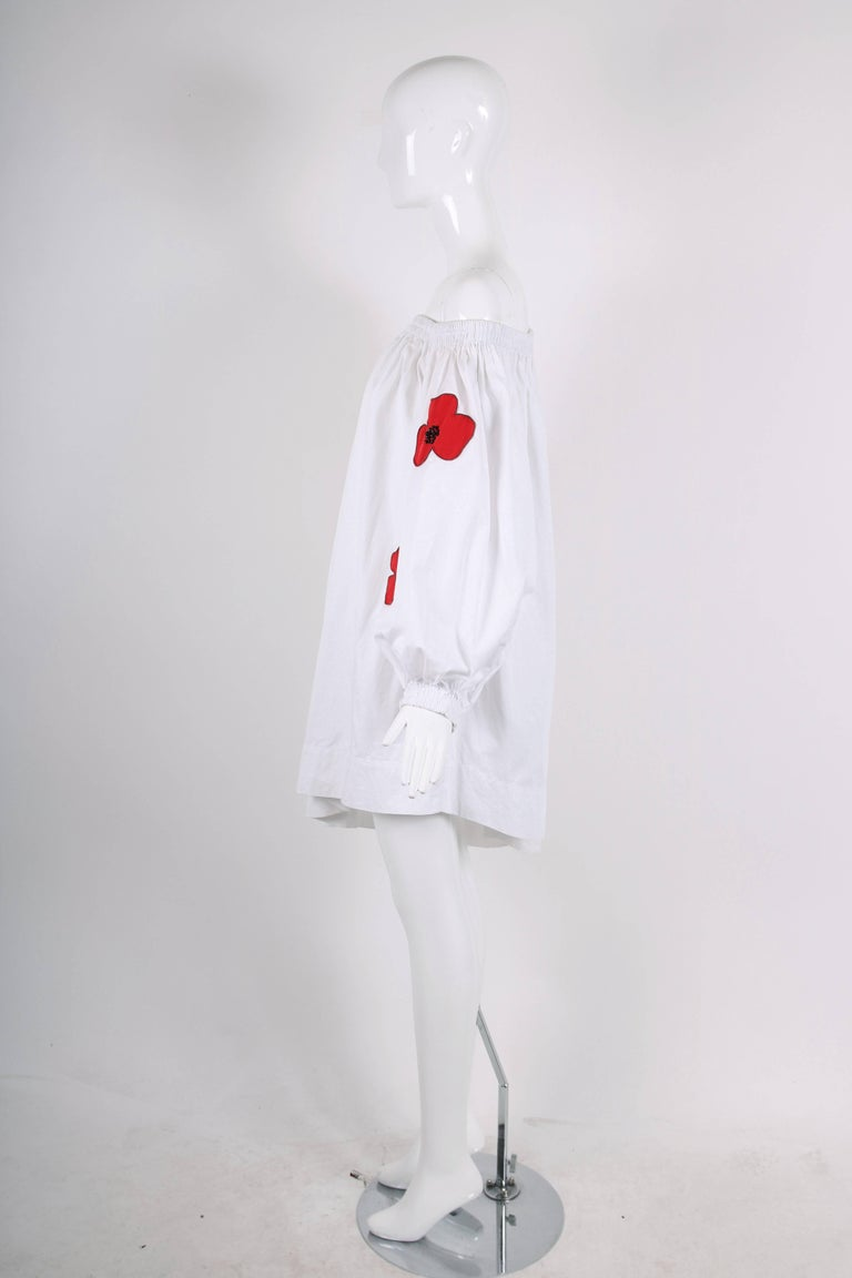 Women's Yves Saint Laurent YSL White Cotton Asymmetric Day Dress with Poppies For Sale