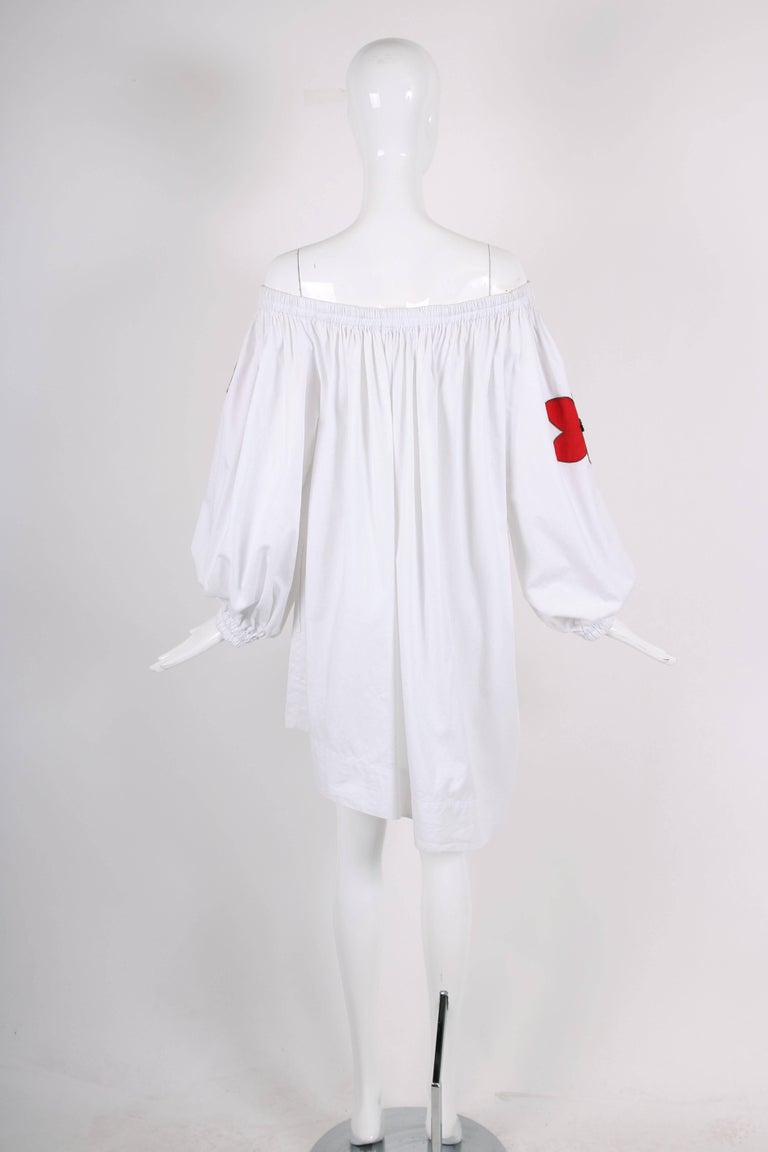 Yves Saint Laurent YSL White Cotton Asymmetric Day Dress with Poppies For Sale 1