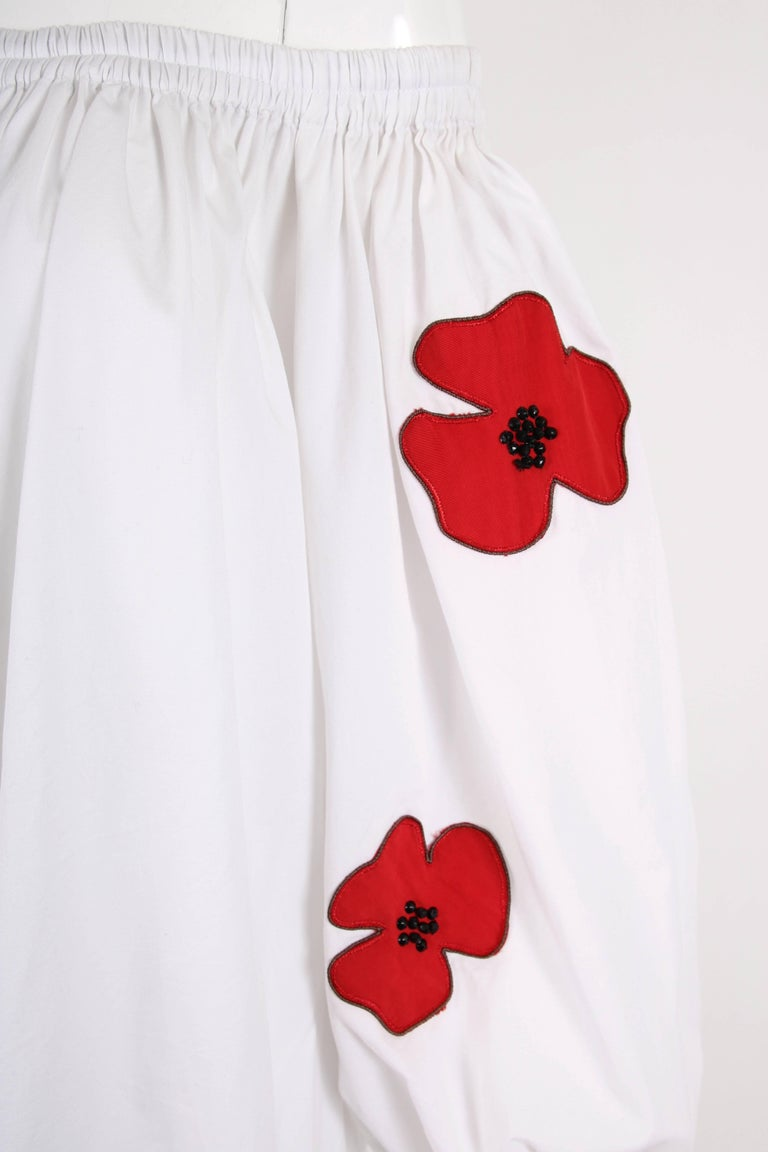 Yves Saint Laurent YSL White Cotton Asymmetric Day Dress with Poppies For Sale 2