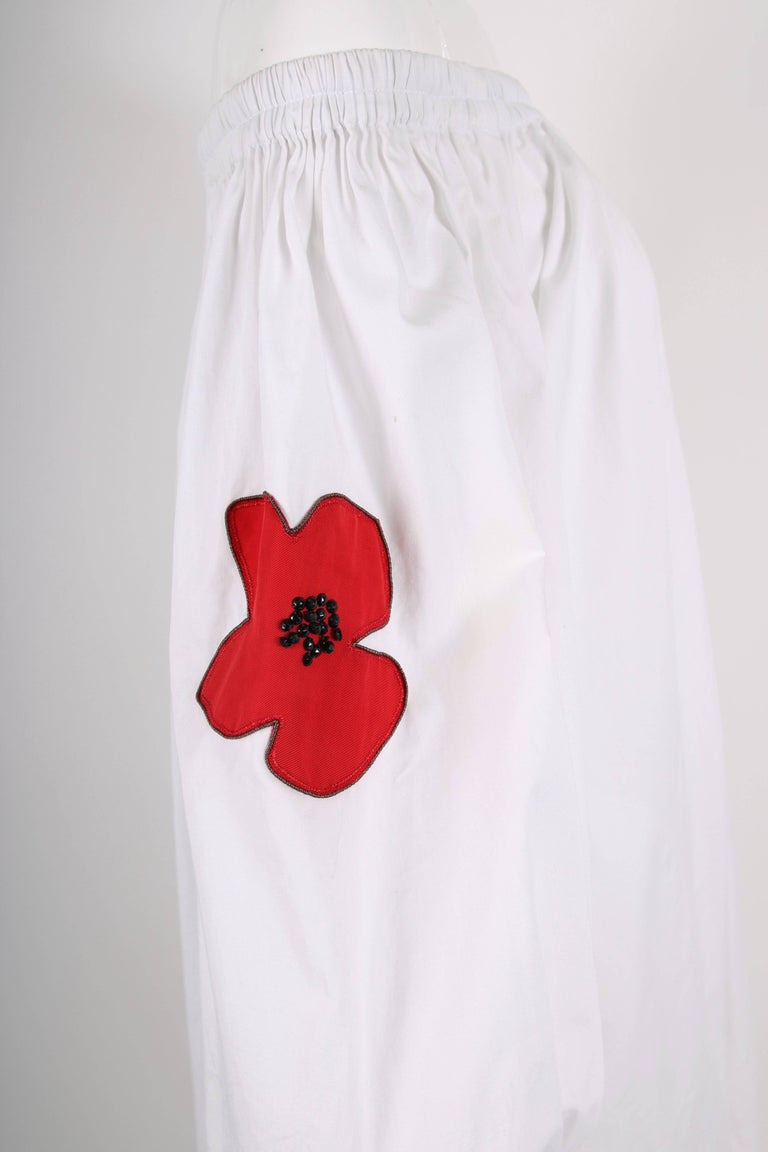 Yves Saint Laurent YSL White Cotton Asymmetric Day Dress with Poppies For Sale 3