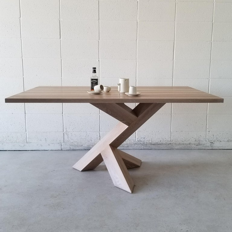Modern Iconoclast Solid Wood Pedestal Dining Table by Izm Design For Sale