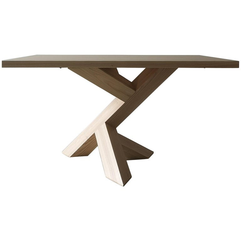 Iconoclast Solid Wood Pedestal Dining Table by Izm Design For Sale