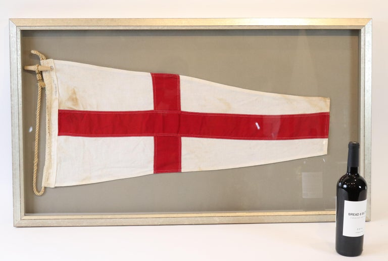 Cotton International maritime signal flag representing the number 8. Displayed in shadowbox frame. Measures: 24