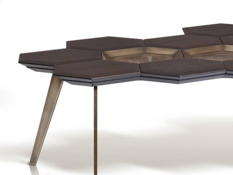 Modern In Stock Coffee Table, Wood and Brass Contemporary Coffee Table For Sale