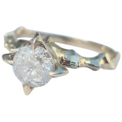 Icy Diamond 14 Karat Gold Medieval Inspired Solitaire Ring