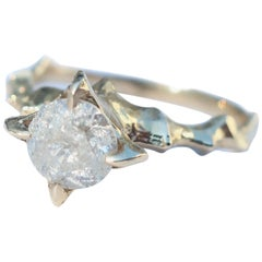 Icy Diamond Gold Medieval Inspired Solitaire Ring