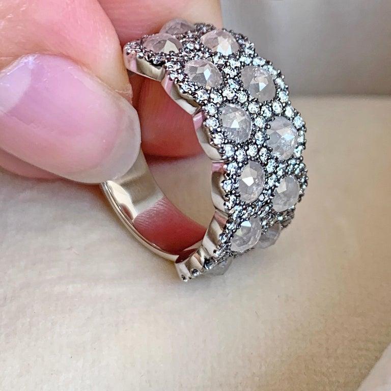 Icy Rose-Cut DEGVVS White Brilliant-Cut Diamond Pave Eternity Ring For Sale 4