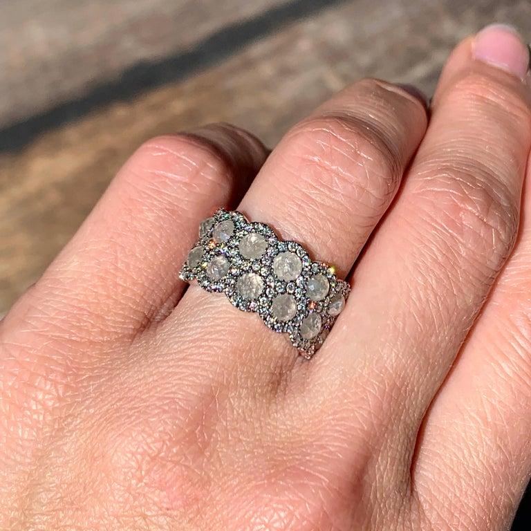 Icy Rose-Cut DEGVVS White Brilliant-Cut Diamond Pave Eternity Ring For Sale 6