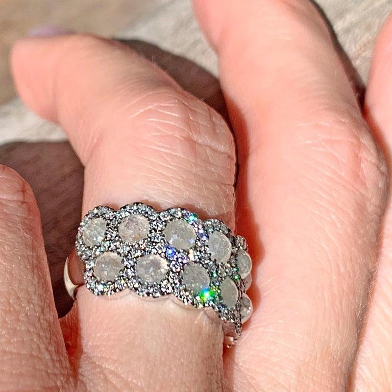 Icy Rose-Cut DEGVVS White Brilliant-Cut Diamond Pave Eternity Ring For Sale 8