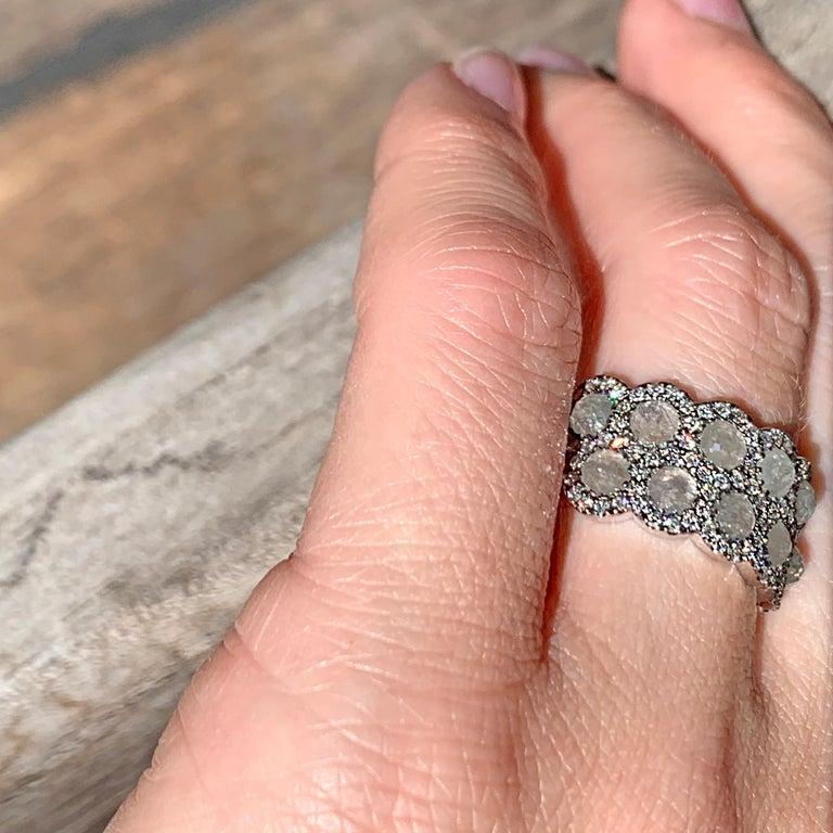 Icy Rose-Cut DEGVVS White Brilliant-Cut Diamond Pave Eternity Ring For Sale 9
