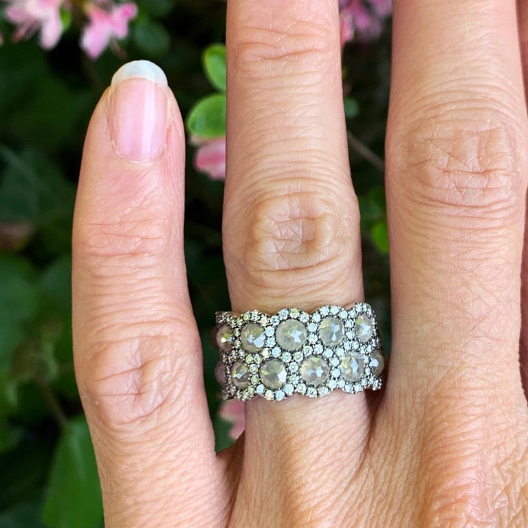 Icy Rose-Cut DEGVVS White Brilliant-Cut Diamond Pave Eternity Ring For Sale 10
