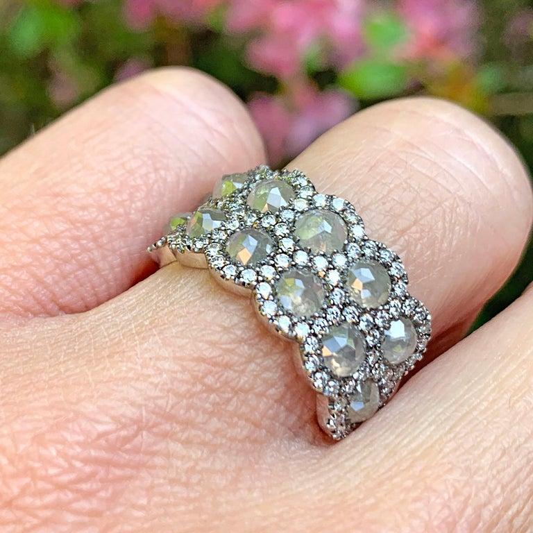 Icy Rose-Cut DEGVVS White Brilliant-Cut Diamond Pave Eternity Ring For Sale 11