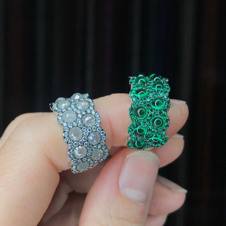 Icy Rose-Cut DEGVVS White Brilliant-Cut Diamond Pave Eternity Ring For Sale 12
