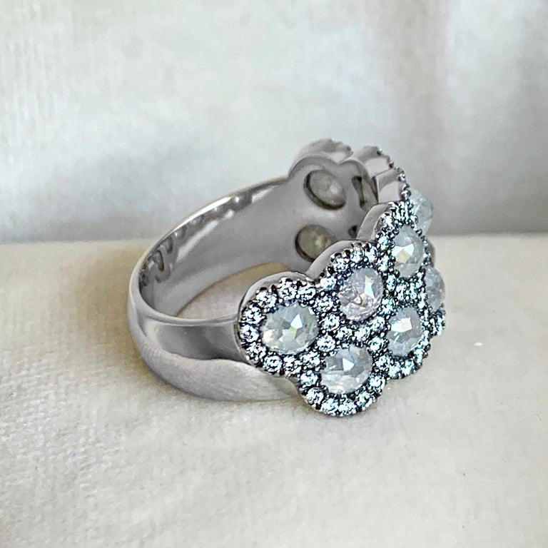 Contemporary Icy Rose-Cut DEGVVS White Brilliant-Cut Diamond Pave Eternity Ring For Sale