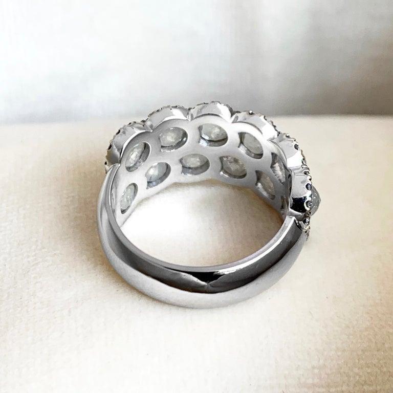 Rose Cut Icy Rose-Cut DEGVVS White Brilliant-Cut Diamond Pave Eternity Ring For Sale