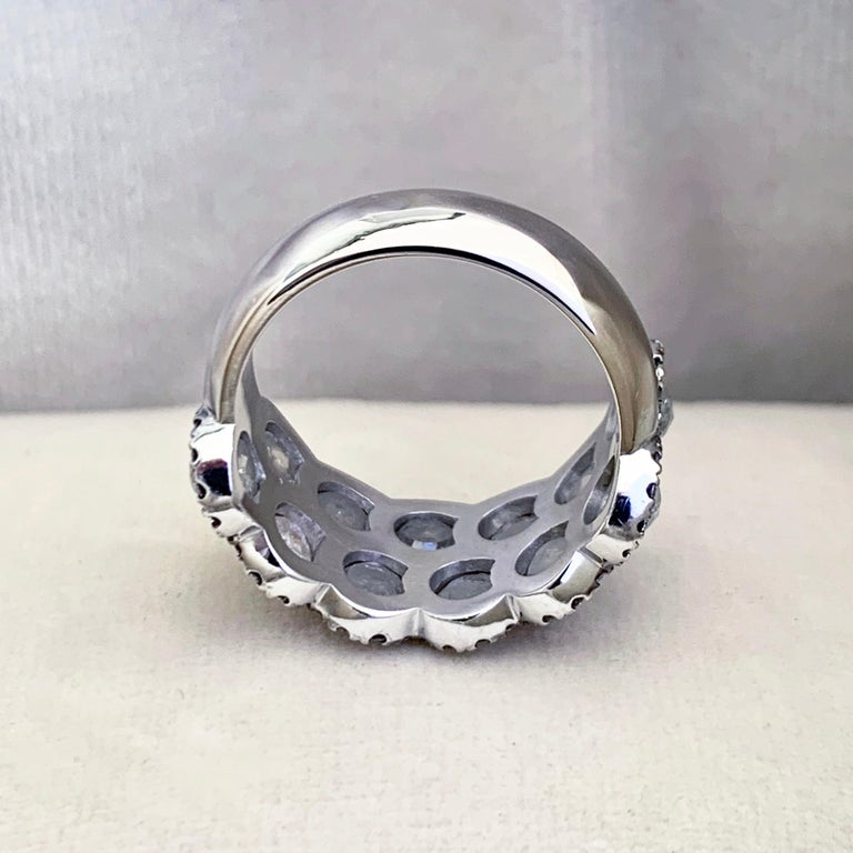Women's Icy Rose-Cut DEGVVS White Brilliant-Cut Diamond Pave Eternity Ring For Sale