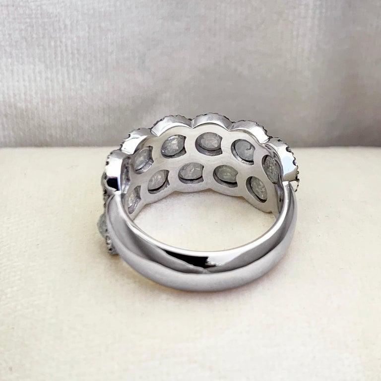 Icy Rose-Cut DEGVVS White Brilliant-Cut Diamond Pave Eternity Ring For Sale 1