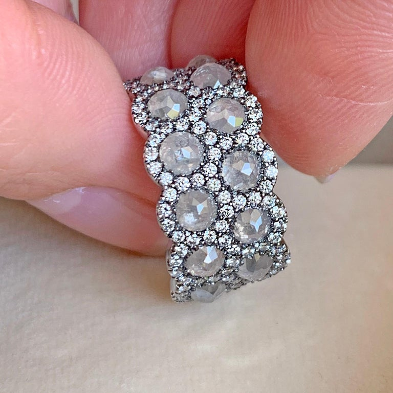 Icy Rose-Cut DEGVVS White Brilliant-Cut Diamond Pave Eternity Ring For Sale 2