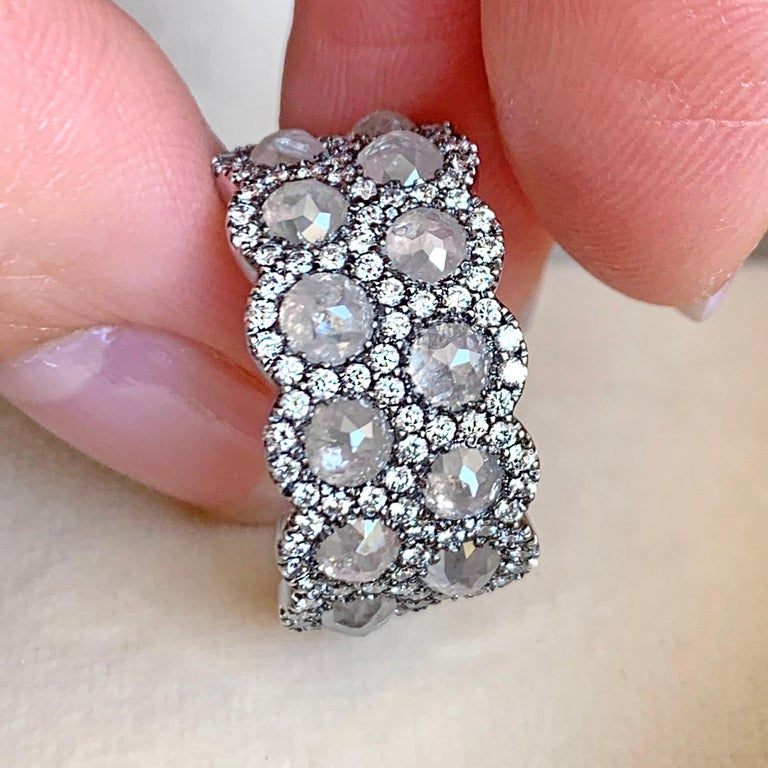 Icy Rose-Cut DEGVVS White Brilliant-Cut Diamond Pave Eternity Ring For Sale 3