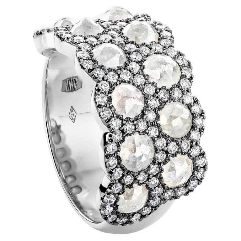 Icy Rose-Cut DEGVVS White Brilliant-Cut Diamond Pave Eternity Ring For Sale