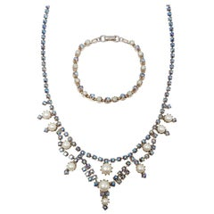 Icy Sapphire Aurora Borealis Crystal and Faux Pearl Necklace and Bracelet, 1950s