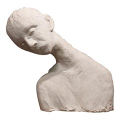 Ida Fua Mid-Century Modern White  Plaster and Wood Base Italian Sculpture, 1940