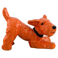 Ida Meisinger for Goldscheider, Playful Terrier in Glazed Ceramics