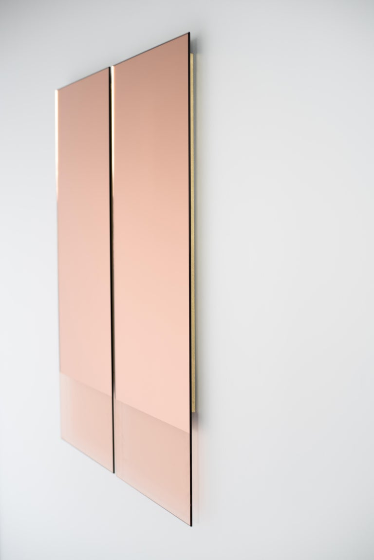 Glass Rose Gold Rectangular Mirror - Contemporary IDA Mirror No. 4 by Ben & Aja Blanc For Sale