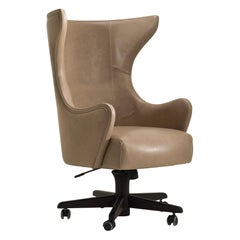 IDA/P Swivel Desk Armchair in Leather Breva Creta by Fratelli Boffi