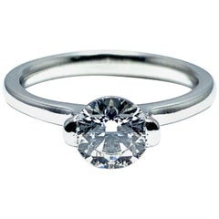 Ideal Cut Round Brilliant 0.84 Carat Diamond Solitaire Platinum Engagement Ring