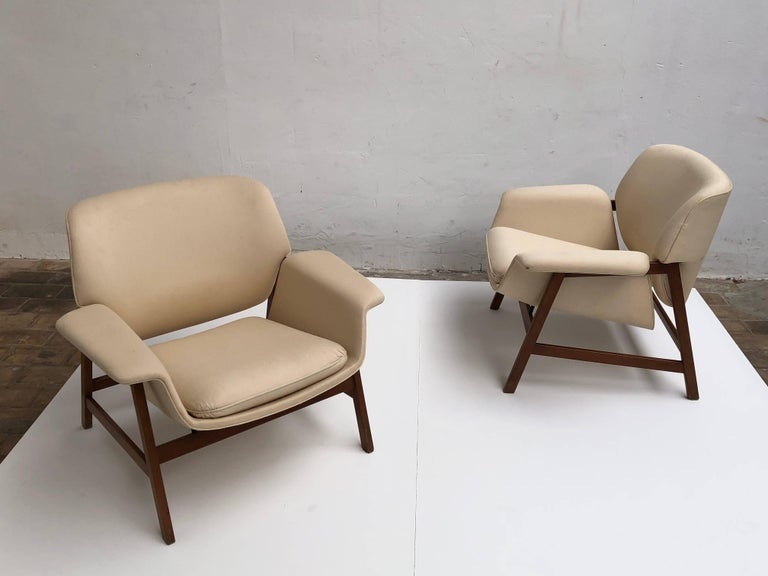 Pair of lounge chairs by  Gianfranco Frattini , 1956,  choose your own fabric. For Sale 7