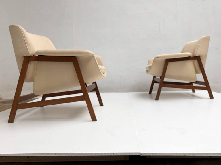 Mid-Century Modern  Pair of lounge chairs by  Gianfranco Frattini , 1956,  choose your own fabric. For Sale