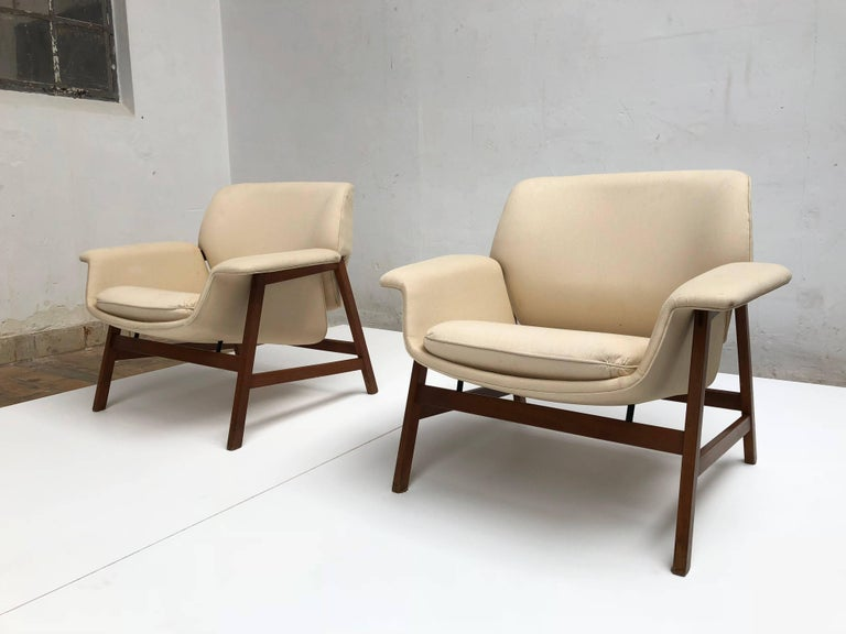 Walnut  Pair of lounge chairs by  Gianfranco Frattini , 1956,  choose your own fabric. For Sale