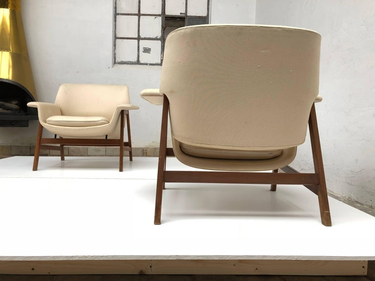 Pair of lounge chairs by  Gianfranco Frattini , 1956,  choose your own fabric. For Sale 1