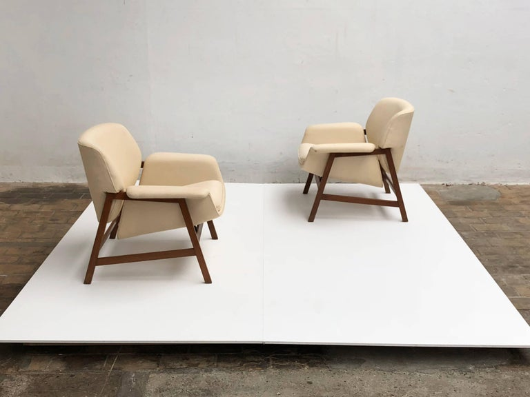 Pair of lounge chairs by  Gianfranco Frattini , 1956,  choose your own fabric. For Sale 2