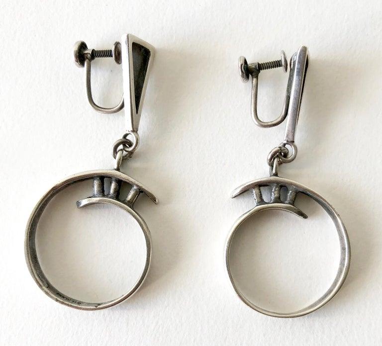 Idella La Vista Sterling Silver American Modernist Earrings In Good Condition For Sale In Los Angeles, CA
