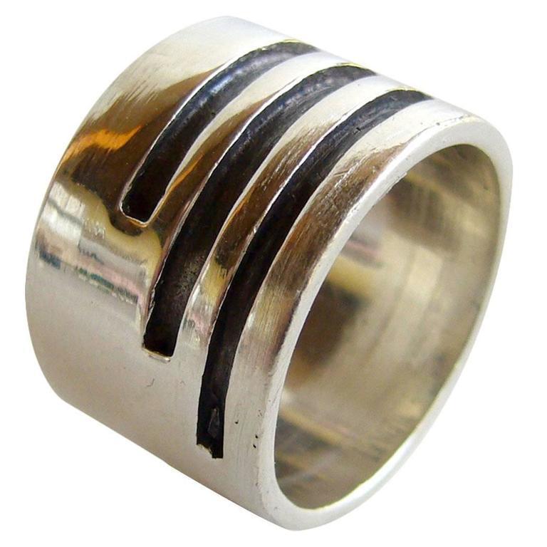 Women's or Men's Idella La Vista Sterling Silver American Modernist Gentlemans Ring For Sale