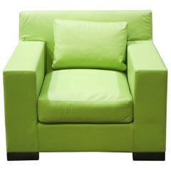 Ideo Modern Club Chair in Green Leather Upholstery