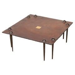 Idir Mecibah Large Square Brutalist Coffee Table for Smederij Moerman, 1998