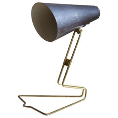 Idman, Small Adjustable Table Lamp, Brass, Lacquered Metal, Finland, 1950s