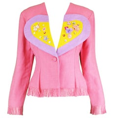 Idol Vintage Pink & Yellow Viscose and Linen Love Heart Fringed Jacket, 1990s
