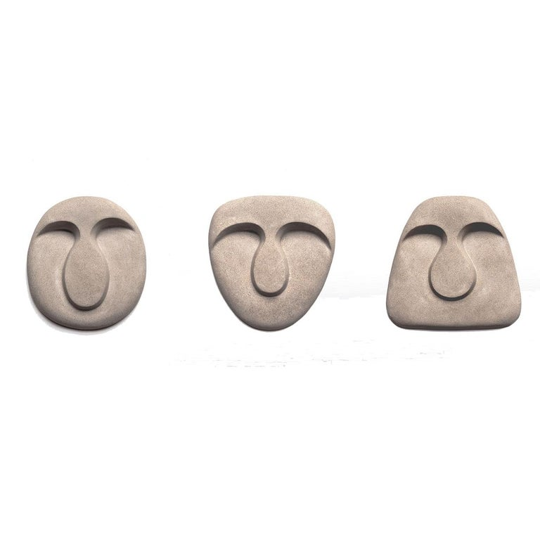 Italian Idoli Mask Plaster Wall Sculpture For Sale