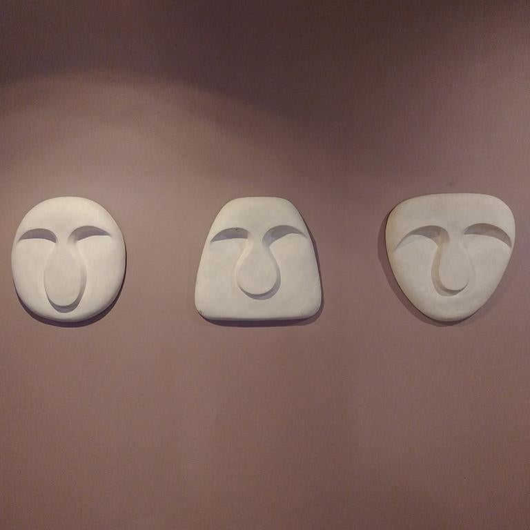 Hand-Crafted Idoli Mask Plaster Wall Sculpture For Sale