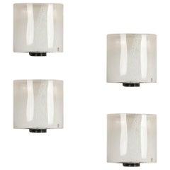 Idra, Murano Glass Set of Four Wall Lamps by Renato Toso, 1982