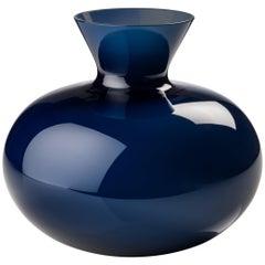 Idria Small Round Glass Vase in Blue Marine by Venini
