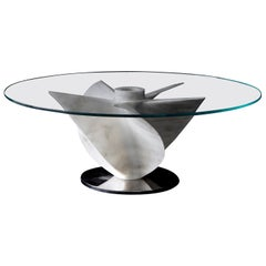 Marble Coffee Table by Damiano Spelta in White Carrara Marble with Glass Top